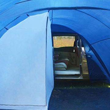 vidaXL Campingzelt Tunnelzelt Familienzelt Gruppenzelt Buszelt Bus Vorzelt Busvorzelt Camping Zelt Strand 390x330x195 cm Blau Schlafkabine - 6