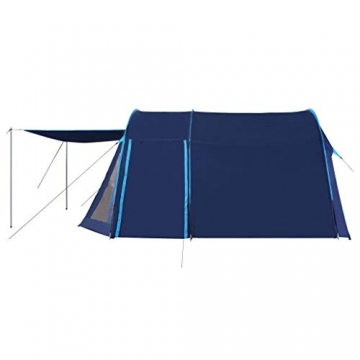 vidaXL Campingzelt Tunnelzelt Familienzelt Gruppenzelt Buszelt Bus Vorzelt Busvorzelt Camping Zelt Strand 390x330x195 cm Blau Schlafkabine - 7