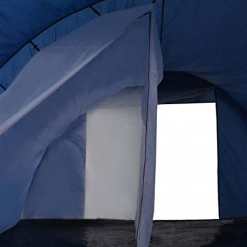 vidaXL Campingzelt Tunnelzelt Familienzelt Gruppenzelt Buszelt Bus Vorzelt Busvorzelt Camping Zelt Strand 390x330x195 cm Blau Schlafkabine - 8