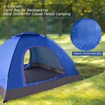 XDDIAS Pop up Zelt 200cm x 200cm x 150cm, Tragbares Strand-Zelt mit LSF50+ UV-Schutz für Outdoor Sport Camping Wandern Reisen Strand 2-4 Person - 2