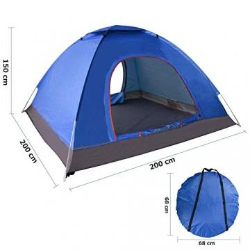 XDDIAS Pop up Zelt 200cm x 200cm x 150cm, Tragbares Strand-Zelt mit LSF50+ UV-Schutz für Outdoor Sport Camping Wandern Reisen Strand 2-4 Person - 6