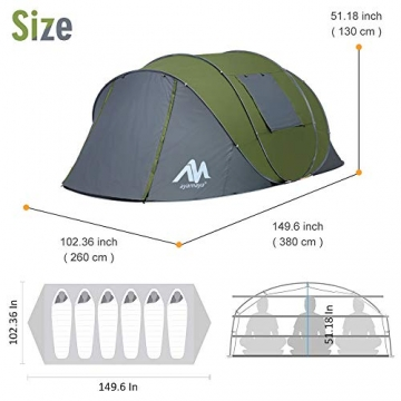 Zelt 4-6 Personen Wasserdicht, Pop up Zelte Familienzelt [5 Fenster] Riesiges Camping Zelt Doppelwandig Wurfzelt Shelter 6-Mann Zelt mit Vorraum für Outdoor Sport Picknick Wandern Reisen Strand - 6