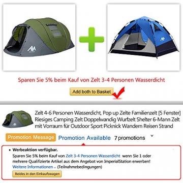 Zelt 4-6 Personen Wasserdicht, Pop up Zelte Familienzelt [5 Fenster] Riesiges Camping Zelt Doppelwandig Wurfzelt Shelter 6-Mann Zelt mit Vorraum für Outdoor Sport Picknick Wandern Reisen Strand - 7