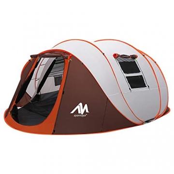 Zelt 4-6 Personen Wasserdicht, Pop up Zelte Familienzelt [5 Fenster] Riesiges Camping Zelt Doppelwandig Wurfzelt Shelter 6-Mann Zelt mit Vorraum für Outdoor Sport Picknick Wandern Reisen Strand - 1
