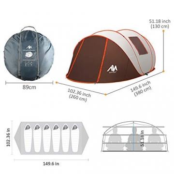 Zelt 4-6 Personen Wasserdicht, Pop up Zelte Familienzelt [5 Fenster] Riesiges Camping Zelt Doppelwandig Wurfzelt Shelter 6-Mann Zelt mit Vorraum für Outdoor Sport Picknick Wandern Reisen Strand - 3
