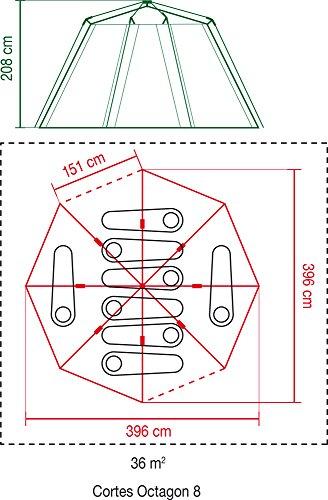 Coleman Octagon 8 Mann Zelt Familienzelt, rot, Einheitsgröße - 9