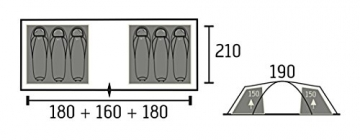 Portal Beta 6 Vis-A-Vis Campingzelt Tunnelzelt wasserdichtes Familienzelt 4000mm Wassersäule - 4