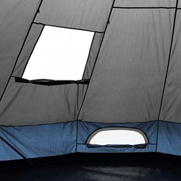 your GEAR Zelt Ravello 400 Tipizelt für 4-6 Personen Familienzelt UV 50+ Schutz Stehhöhe Bodenwanne Wasserdicht 5000 mm Blau Grau - 7