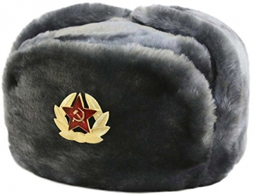 Cucuba® RUSSISCHE FELLMÜTZE SCHAPKA USCHANKA WINTERMÜTZE MILITÄRMÜTZE DER SOWIETISCHEN Armee GRÖSSEN VERFÜGBAR 56-57-58-59-60 (EU) - Geschenkidee (57 Size M (EU)) - 1