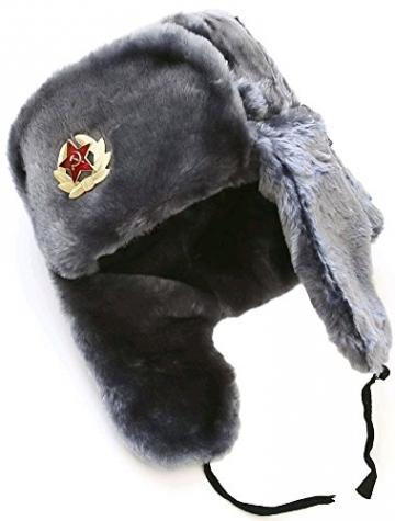Cucuba® RUSSISCHE FELLMÜTZE SCHAPKA USCHANKA WINTERMÜTZE MILITÄRMÜTZE DER SOWIETISCHEN Armee GRÖSSEN VERFÜGBAR 56-57-58-59-60 (EU) - Geschenkidee (57 Size M (EU)) - 2