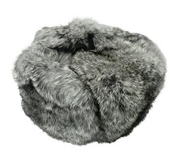 CUCUBA Unisex Russische Fellmütze Schapka Uschanka Kaninchenfell Farbe Grau (57 Size M (EU)) - 3