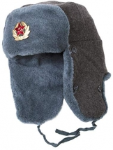 Ganwear® Authentische Armee Mütze Russische Uschanka Grau Wintermütze Sowjetischer Soldaten getragen - 1