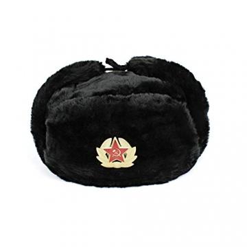 Heka Naturals Ushanka Russische Militärmütze mit Ohrenklappen und abnehmbarem Sowjetischen Abzeichen, Schwarze Winter-Pelzmütze, UDSSR Geschenk   Schwarze 58 cm - 1