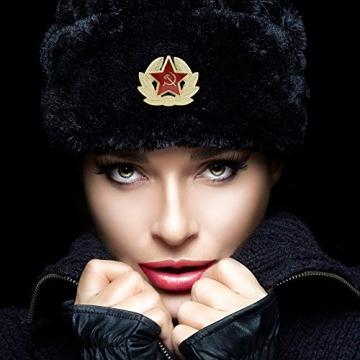 Heka Naturals Ushanka Russische Militärmütze mit Ohrenklappen und abnehmbarem Sowjetischen Abzeichen, Schwarze Winter-Pelzmütze, UDSSR Geschenk   Schwarze 58 cm - 6