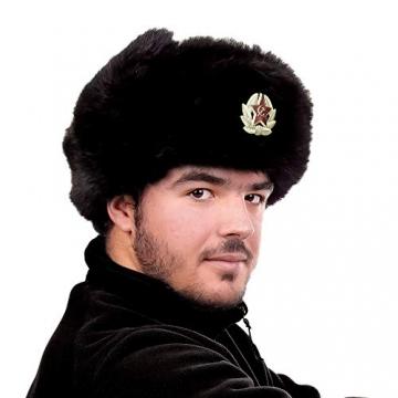 Heka Naturals Ushanka Russische Militärmütze mit Ohrenklappen und abnehmbarem Sowjetischen Abzeichen, Schwarze Winter-Pelzmütze, UDSSR Geschenk   Schwarze 58 cm - 7