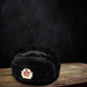 Heka Naturals Ushanka Russische Militärmütze mit Ohrenklappen und abnehmbarem Sowjetischen Abzeichen, Schwarze Winter-Pelzmütze, UDSSR Geschenk   Schwarze 58 cm - 8