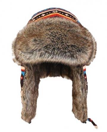 Insun Wintermütze Fliegermütze Gestrickt Pilotenmütze Uschanka Russenmütze Ohrenschützer für Erwachsene und Kinder Mehrfarbig 3 M Hut Umfang 54cm - 2