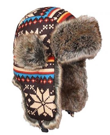 Insun Wintermütze Fliegermütze Gestrickt Pilotenmütze Uschanka Russenmütze Ohrenschützer für Erwachsene und Kinder Mehrfarbig 3 M Hut Umfang 54cm - 3