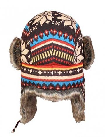 Insun Wintermütze Fliegermütze Gestrickt Pilotenmütze Uschanka Russenmütze Ohrenschützer für Erwachsene und Kinder Mehrfarbig 3 M Hut Umfang 54cm - 4
