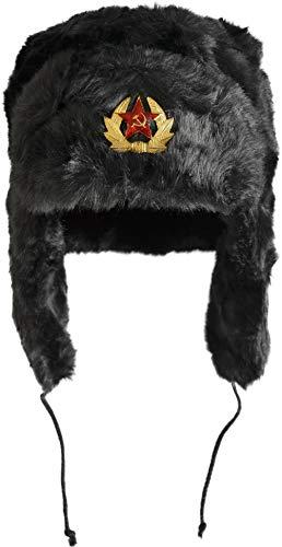 normani Russische Pelzmütze Uschanka Fellmütze Armee UDSSR Russland Tschapka Schapka Farbe Dunkelschwarz Größe M - 2