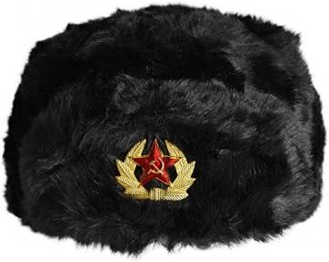 normani Russische Pelzmütze Uschanka Fellmütze Armee UDSSR Russland Tschapka Schapka Farbe Dunkelschwarz Größe M - 1