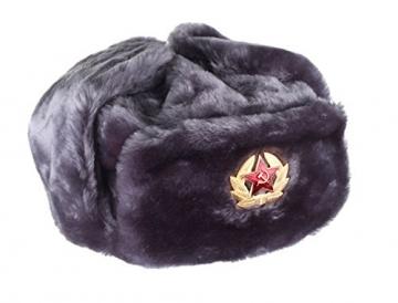 Russische/UDSSR Winter grau Fell Uschanka Mütze + sowjetischen rot Star Badge, grau - 2