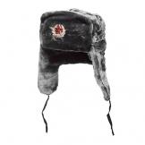 Russische/UDSSR Winter grau Fell Uschanka Mütze + sowjetischen rot Star Badge, grau - 1