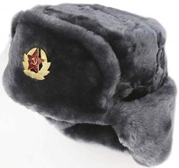 SIBERHAT Sibirhat Ushanka-Hut, Russisches Fell, Militär, Grau, 62/XL - 2