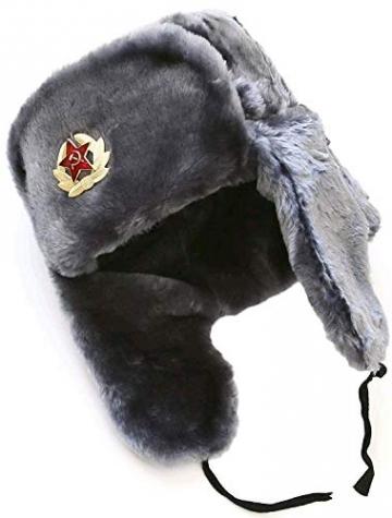 SIBERHAT Sibirhat Ushanka-Hut, Russisches Fell, Militär, Grau, 62/XL - 3