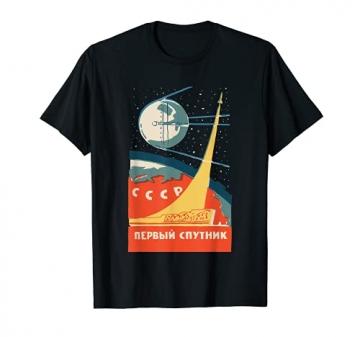 Sputnik USSR Vintage Poster T-Shirt Communist USSR Space - 1