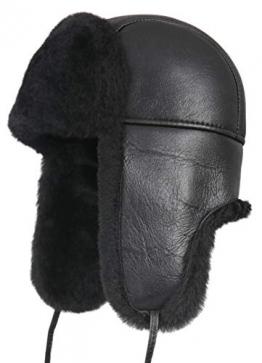 Zavelio Unisex Shearling Schaffell Leder Flieger Russische Uschanka Trapper Winter Pelzmütze Größe L Solides Schwarz - 1